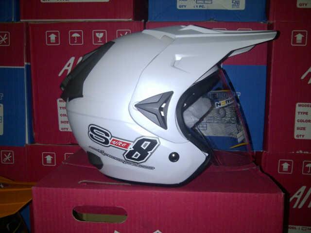 IMG 20141016 00322 helm TRIAL adventure merk alice.x racer uk all size wrna putih hrg 275rb
