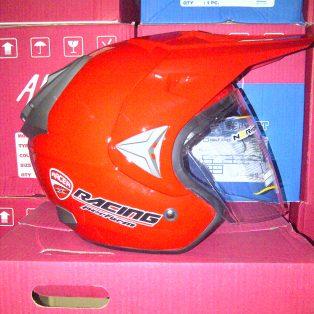 helm trial adventure hrg 275 rb wrna merah mengkilap uk all size