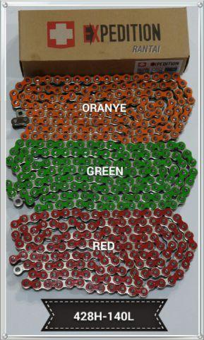 Rantai Warna EXPEDITION rante/chain berwarna merk EXPDITION 428HH   140 L buat semua motor trail hrg 185 rb