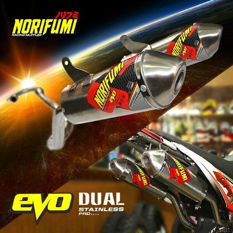 norifumi evo dual muffler print ad IG knalpot klx 150 merk norifumi double mufler hrg 2,5 jt