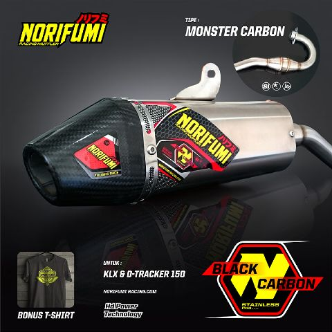 norifumi monster carbon muffler print ad IG Jual knalpot MONSTER CARBON klx 150 merk NORIFUMI