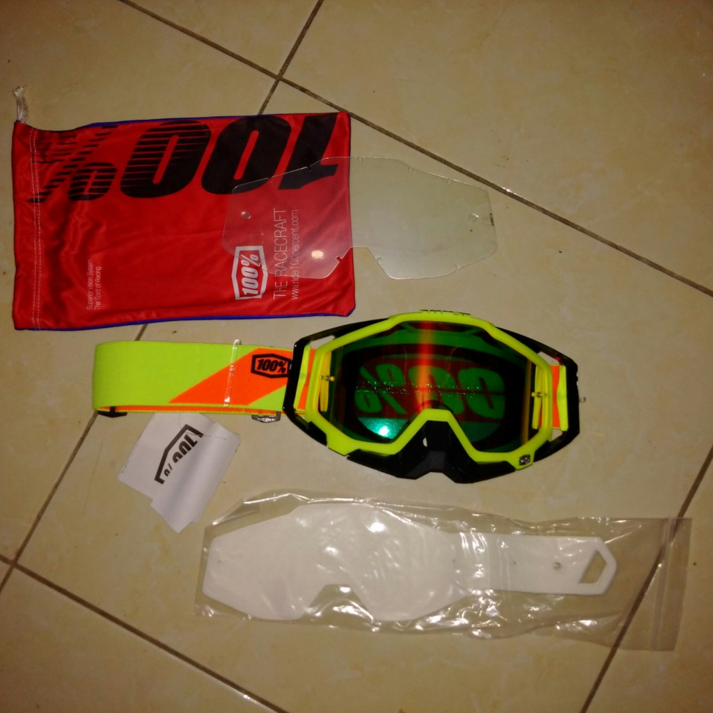 Jual Goggel 100% race craft + tear off + clear lens type 2016 neon sign