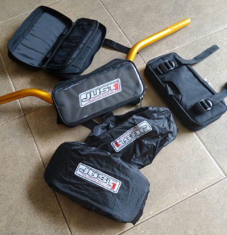 Jual Tas stang untuk semua mtr trail merk JUST + cover bag pelindung air